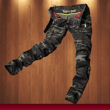 New Fashion Mens Camouflage Jeans Motocycle Camo Military Slim Fit Famous Designer Biker Jeans With Zippers