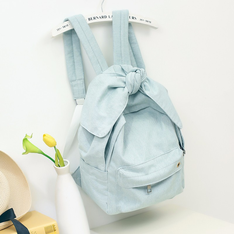 Girls Women Denim Backpacks with Big Bow Fashion Trends Female Back Bags Jeans Cloth Big Capacity