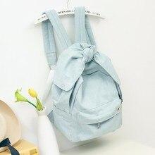Mädchen Frauen Denim Rucksäcke mit Großen Bogen Modetrends Weibliche zurück Taschen Jeans Tuch Große Kapazität Blau Rucksäcke Reisetasche 517