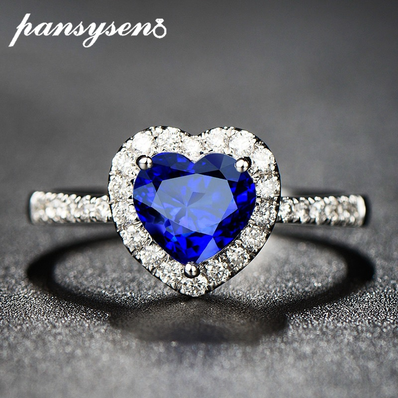 PANSYSEN Charms 7mm Heart Natural Sapphire Gemstone Rings For Women Genuine 925 Sterling Silver Jewelry Engagement Ring Gifts