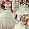Vestido de noiva vestidos de Novia de Encaje Correa Moldeada Escarpado Tulle Sexy Vestidos de Novia Vestidos de Novia Perlas Princesa Casamento