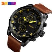 SKMEI Men Watches Top Brand Luxury Male Leather Waterproof Sport Quartz Watch Chronograph Military Wrist Watches