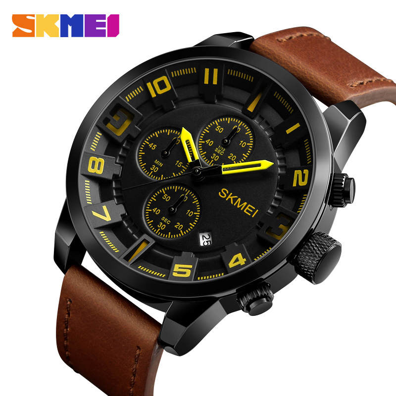 SKMEI Men Watches Top Brand Luxury Male leather Waterproof Sport Quartz Watch Chronograph Military Wrist Watches Men Clock skmei 6911 womens automatic watch women fashion leather clock top quality famous china brand waterproof luxury military vintage