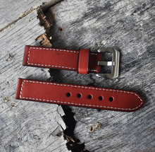 Onthelevel Genuine Leather Watch band 18 20 22 24 26 Steel Buckle Retro Strap ,Black Red Green Orange Band For Mens