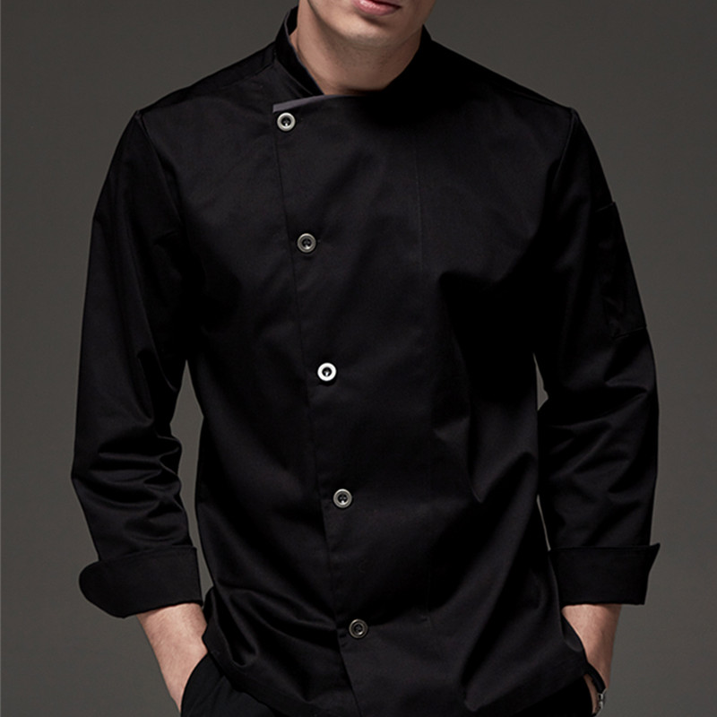 Black White Long Sleeve Chef Shirt D74-3