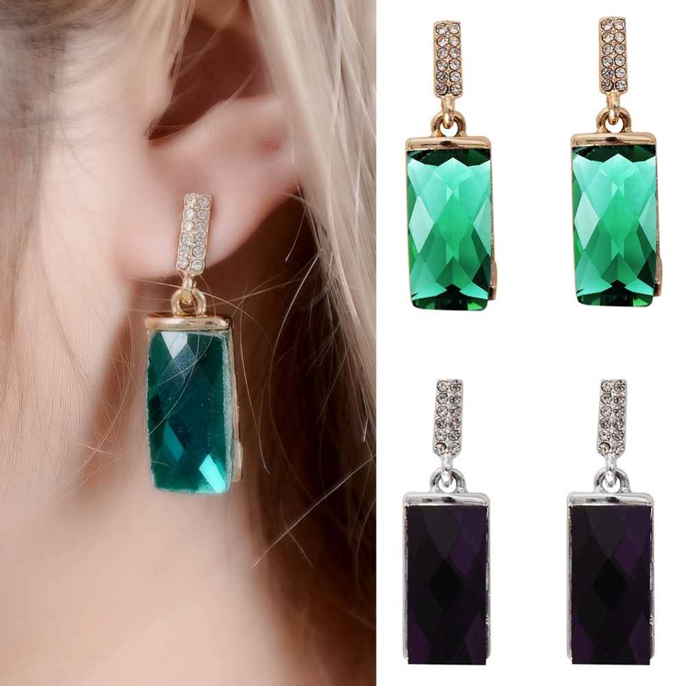 Hot Sale Purple Green Rectangular With Rhinestone CZ Gold Silver Color Alloy Drop Earrings