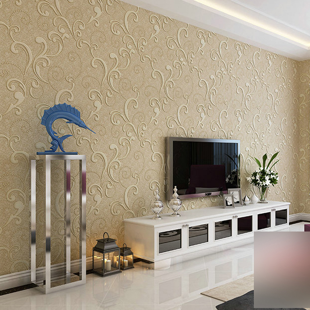 High quality non woven flocking embossed vintage wallpaper roll ...