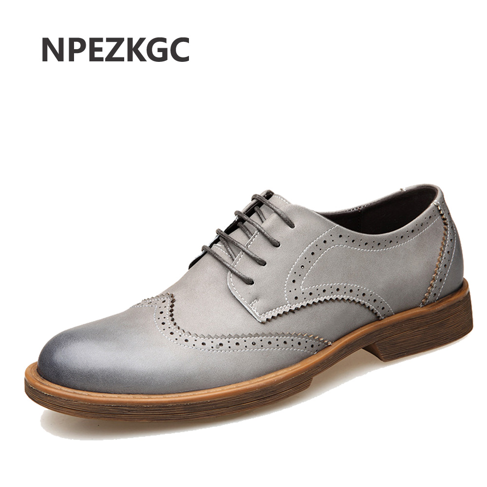 NPEZKGC 2019 New Men Dress Shoes Handmade British Brogue Style Paty Leather Wedding Shoes Men Flats