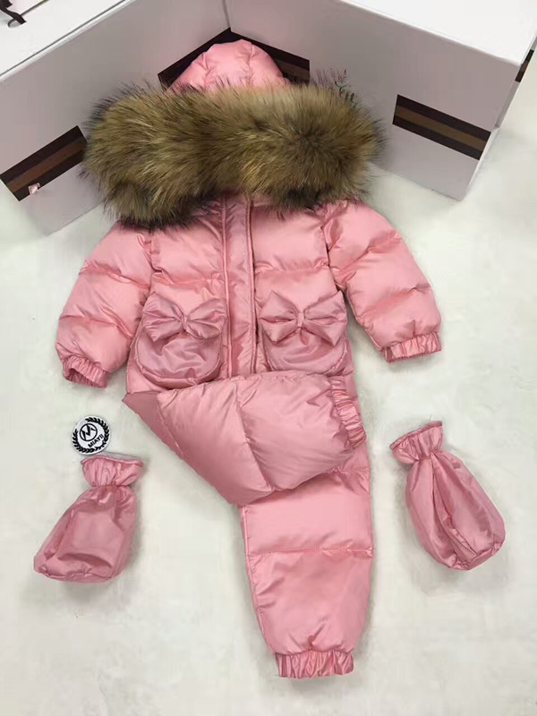 2017 Winter baby girl down coat Baby clothes bow outerwear Fur Hooded children's Snowsuit down coats Child jumpsuit romper parka