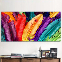 1 Panel Canvas Art Still life Colorful Feathers Wall Pictures For Living Room Home Decor Modern Modular Frameless