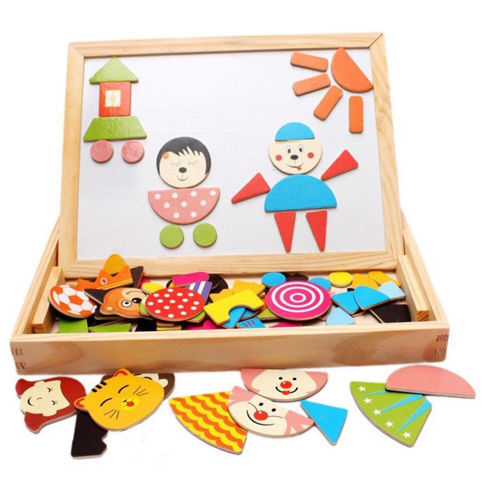 Jouets en bois Puzzles Force magnétique enfants éducatifs début Multi fonction Double face planche à dessin développement Mental