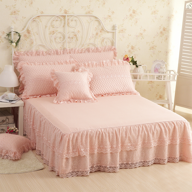 Cotton Princess Lace Bedding set Twin Full Queen King size Bed skirt set Decorative Pillowcases Pink