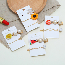 HOCOLE Bohemian Imitation Pearl Metal Hair Clips For Women Korean Style Resin Crystal Hairpins Female Styling Accessories