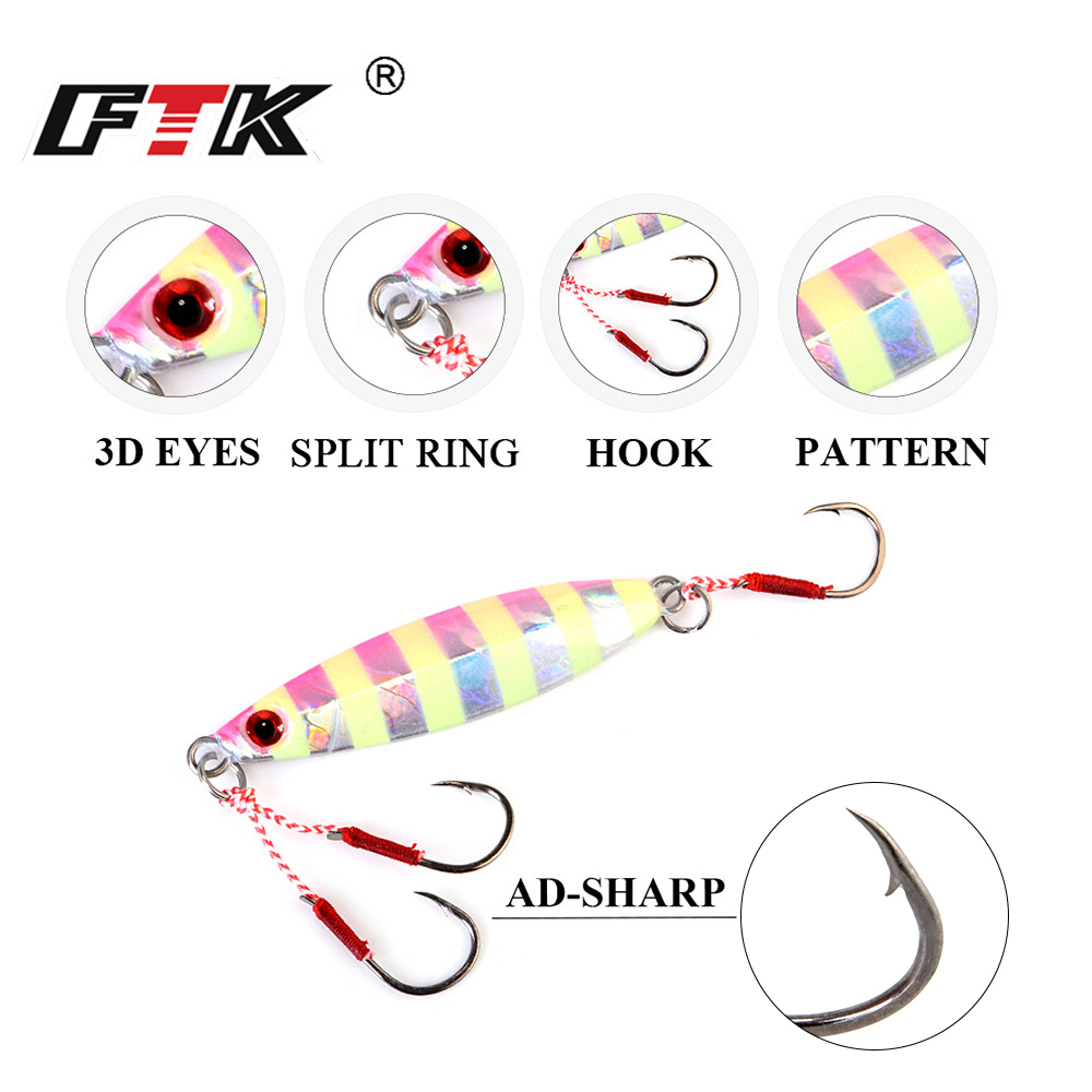 FTK 20 30 40 50g Luminous Slow Jigging Sardine Metal Hard Fishing Lure 57 78mm Micro Jig Sea Boat Fishing Bait With Assist Hook in Fishing Lures from Sports Entertainment