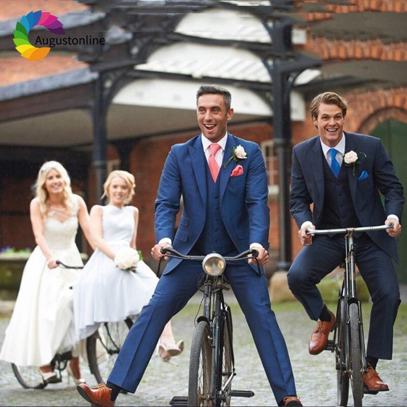 Royal/Navy Blue Slim Fit Wedding Suits For Men Groom Wear 3 Pieces (Jacket+Pants+Vest) Groomsman Suits Blazer Costume Best Man