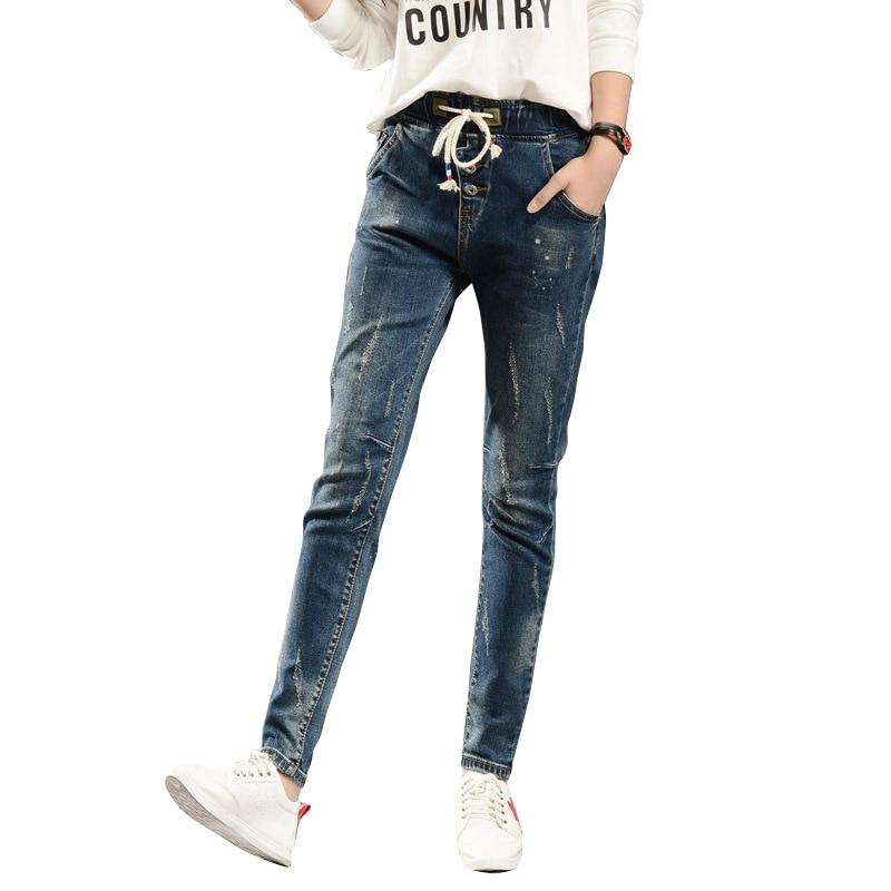 2017 drawstring Women Denim cotton mid Elastic waist Pants Spring Summer Jeans Female stretch scratched long