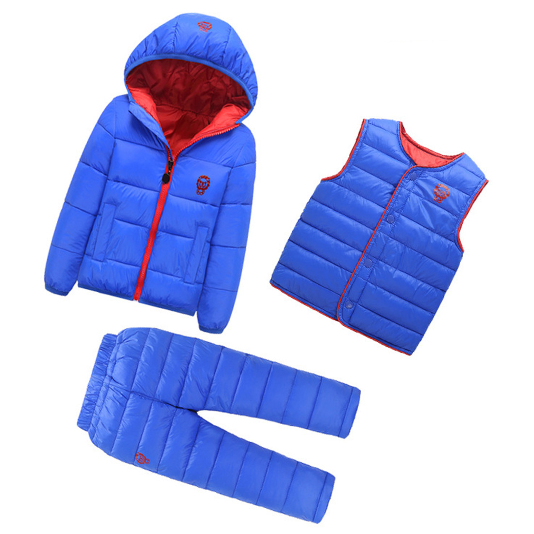 3 Pcs Lot Winter Baby Girls Boys Clothes Sets Children Down Cotton padded Coat 2017 winter children cotton padded parkas clothes baby girls