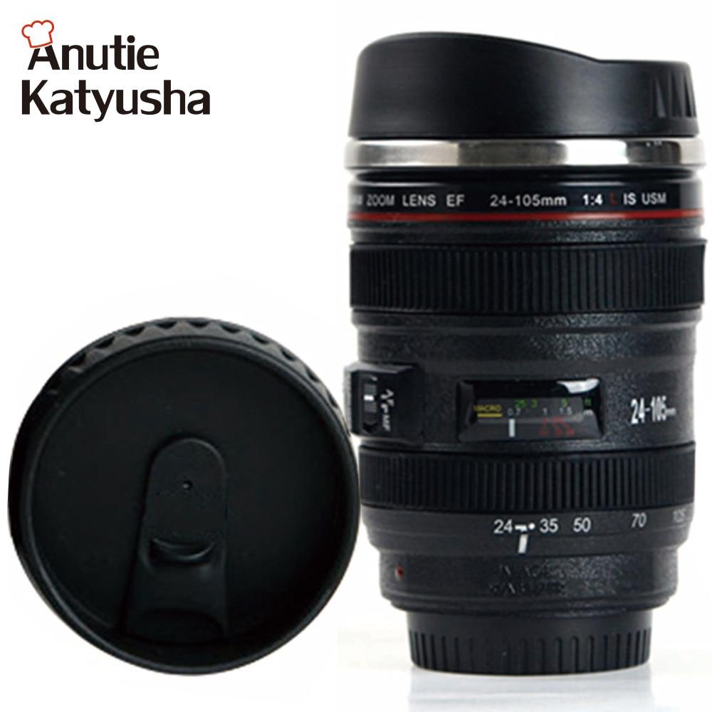 400ML Stainless Steel Camera Lens Mug Coffee Tea Lens Emulation Camera Mugs Gifts Cups Drinkware