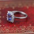 silver jewelry wholesale 925 sterling silver jewelry inlaid CZ imitation diamond micro Tanzanite female ring xh046240