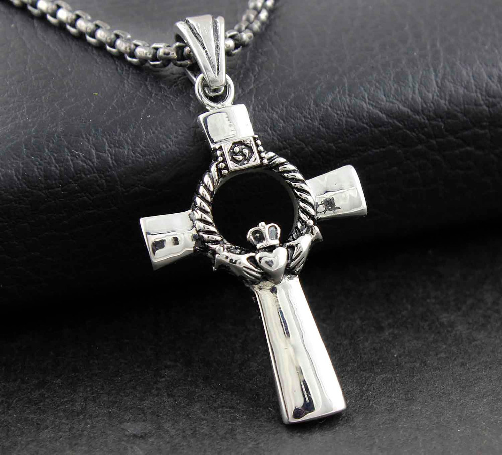 Womens love friendship loyalty irish claddagh cross pendant womens love friendship loyalty irish claddagh cross pendant necklace jewelry in pendants from jewelry accessories on aliexpress alibaba group aloadofball Image collections
