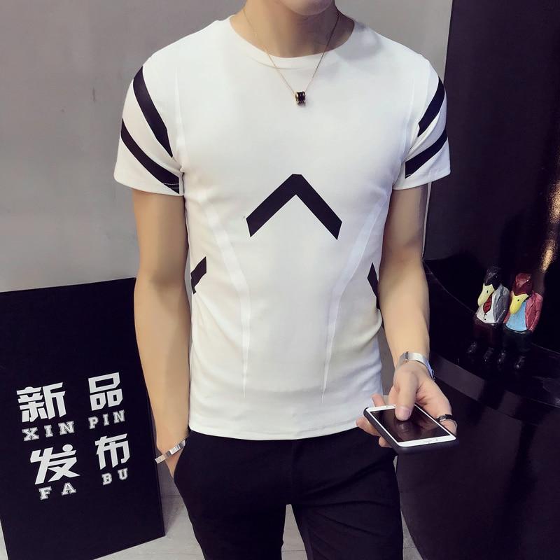 2018 summer new Hong Kong Tsai wind short-sleeved T-shirt personalized printing casual small fresh men's tShirt Slim T-shirt me 4