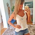 2015 Summer Women Lace Blouse Fashion Sleeveless White Renda Lace Crochet Casual Shirts Tops Plus Size Sexy Blouses Blusas