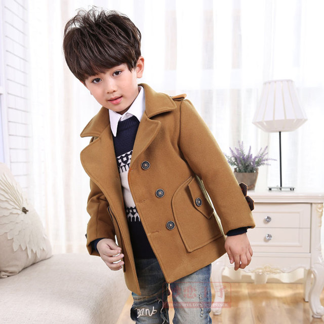 High quality New Boys Winter Coat Fashion Double Breasted Solid Navy Wine Red Kids Wool Coats Jacket Boys Children Outerwear