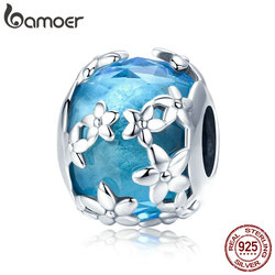 BAMOER 100% 925 Sterling Silver Daisies Daisy Flower Blue CZ Crystal Beads Charm fit Charm Bracelet DIY Jewelry Making SCC878