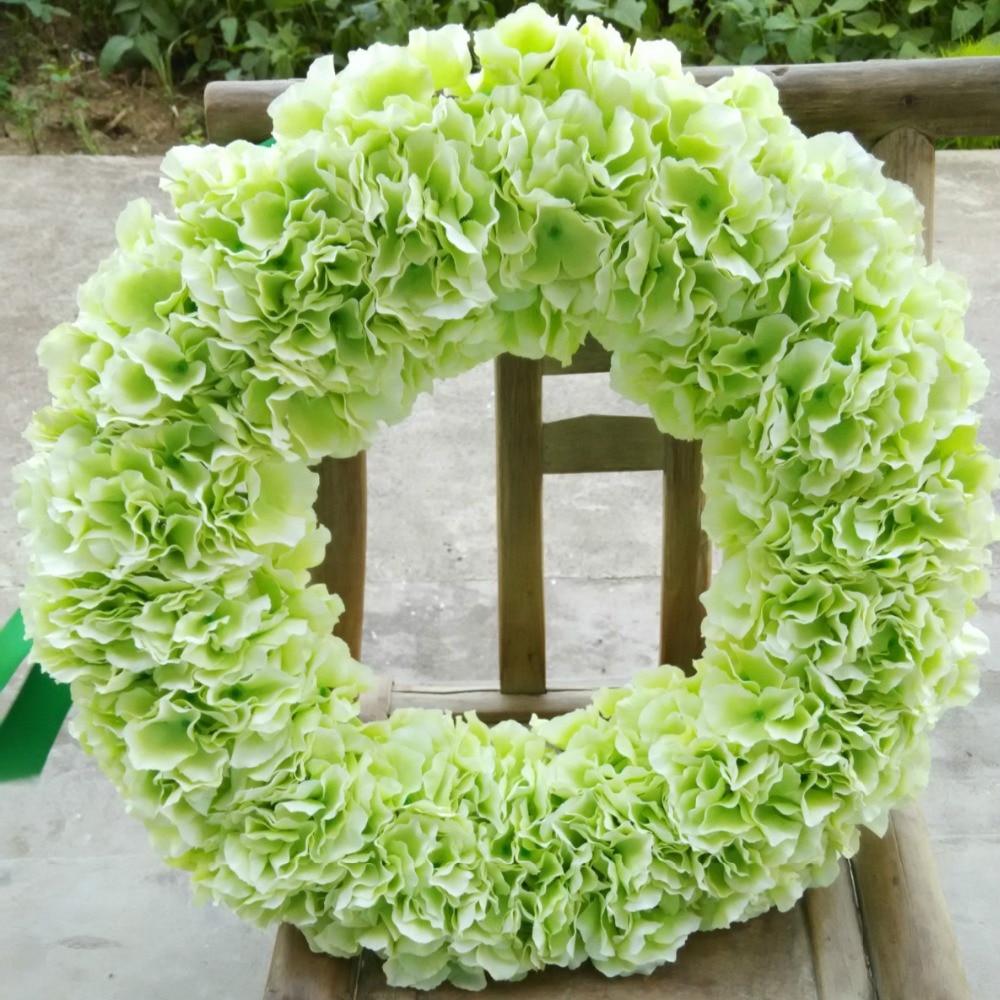 Light Green Hydrangea Round Garland Front Door Wreath 20 Inches Wedding  Party Birthday Decoration Flowers In Wreaths U0026 Garlands From Home U0026 Garden  On ...