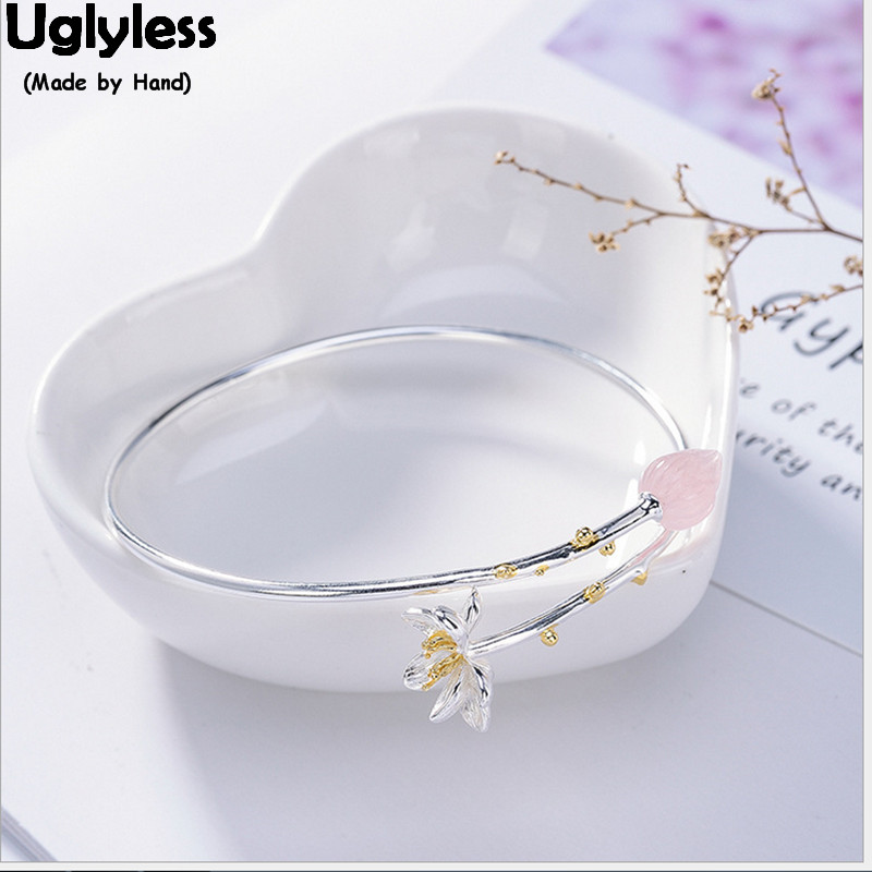 Uglyless 100% Real Solid 925 Sterling Silver Lotus Open Bangles for Women Natural Pink Crystal Flower Bangle Ethnic Fine Jewelry