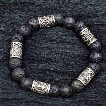 0a0edcf30846 Meetcute Gold Silver Color Viking runa pulsera piedra volcánica Natural  Lava roca cuentas pulseras y brazaletes para hombre joyería regalo