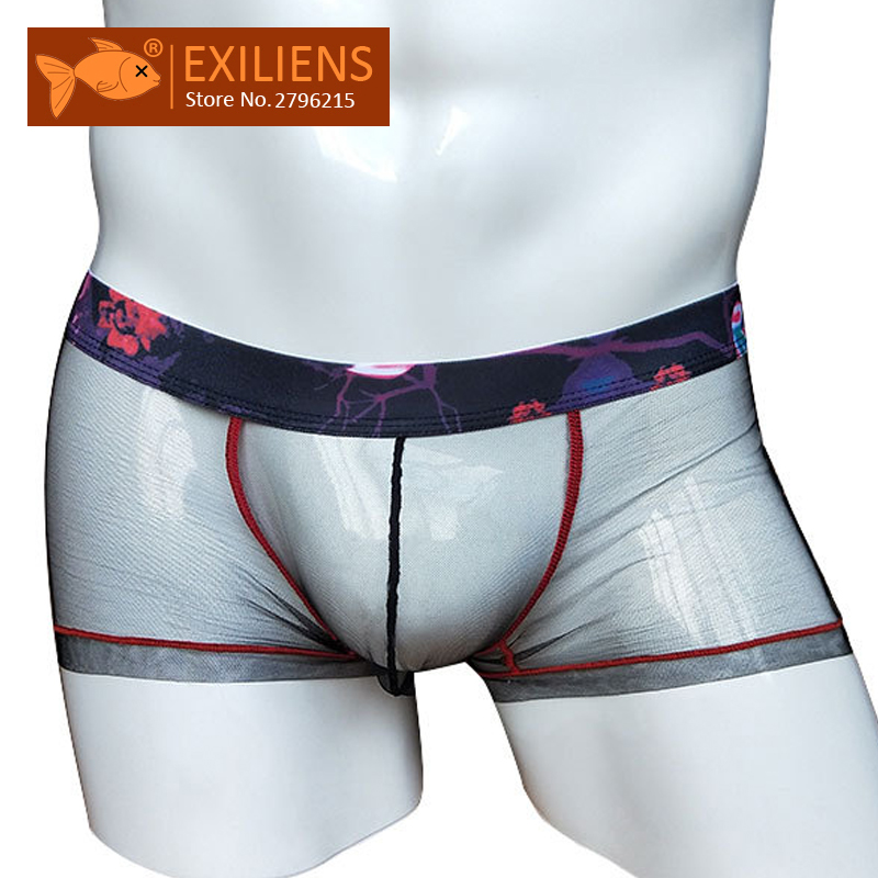 EXILIENS Transparent Men Boxer Underpants Mesh Brand-New Male 092701 Homme Convex-Size title=