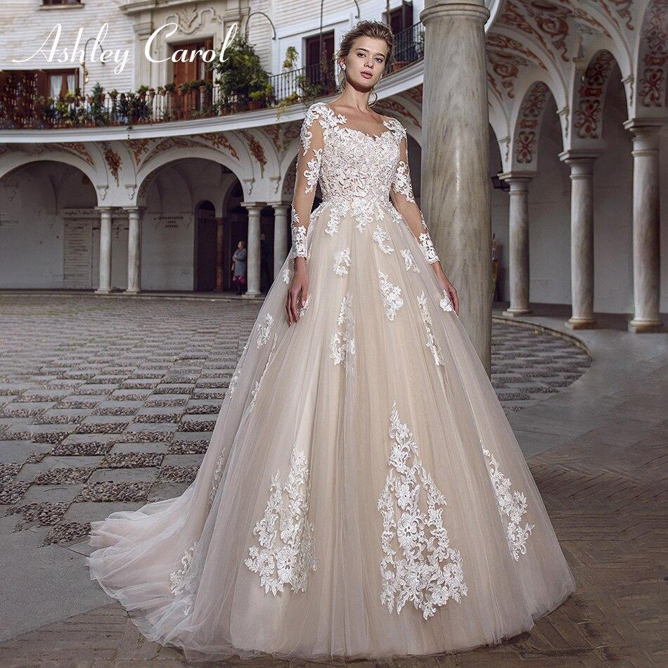 Ashley Carol Sexy Scoop Long Sleeve Appliques A-Line Vintage Wedding Dress 2019 Court Train Bride Dresses Romantic Wedding Gowns