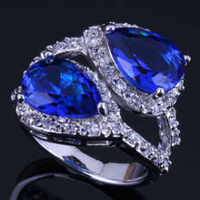 Unusual Pear Blue Cubic Zirconia White CZ 925 Sterling Silver Ring For Women V0469