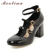 Meotina Shoes Women Mary Jane High Heels Buckle Pumps Chunky High Heel Party Pumps Round Toe