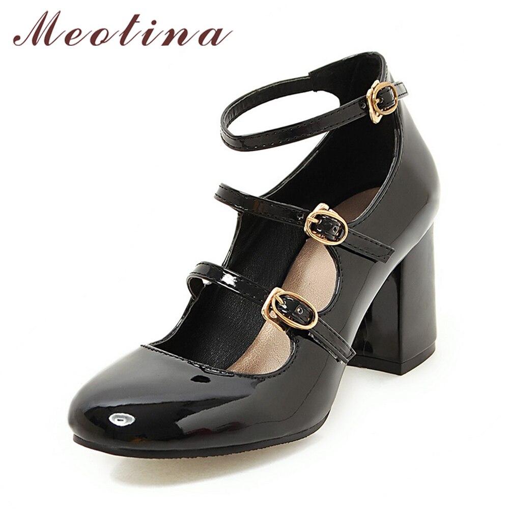 Meotina Printemps 2018 Chaussures Femmes Mary Jane Épais Haute Talons Boucle pompes Partie Chaussures Bout Rond Dames Chaussures Noir Rouge Taille 34-39