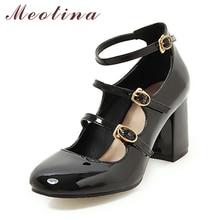 Купить с кэшбэком Meotina Shoes Women Mary Jane High Heels Buckle Pumps Chunky High Heel Party Pumps Round Toe Female Shoes Black Red Size 34-39