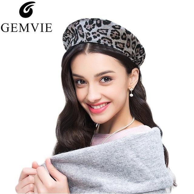 2492175bc165eb Europe Style Women Berets Caps Fashion Leopard Print Flat Top Velvet Beret  Cap Adjustable Painter Hat