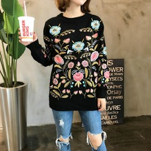 2018 Autumn Winter floral embroidered Black Women sweaters pullovers oversize Runway Designer Ladies Knitted Jumper Pull Clothes