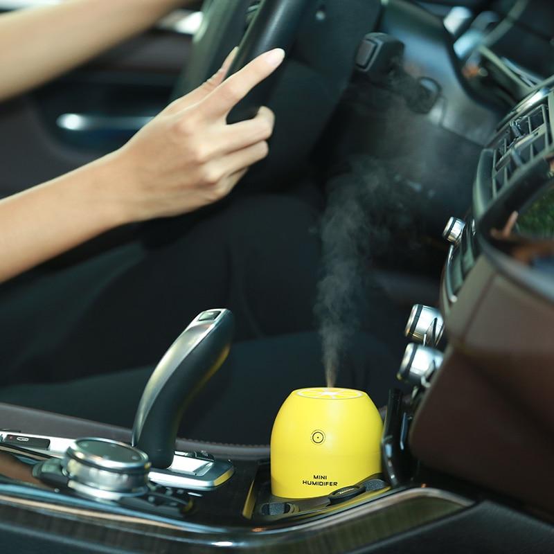 Tancredy Home Car Ultrasonic Humidifier USB Lemon Air Purifier Night Light Atomization M ...