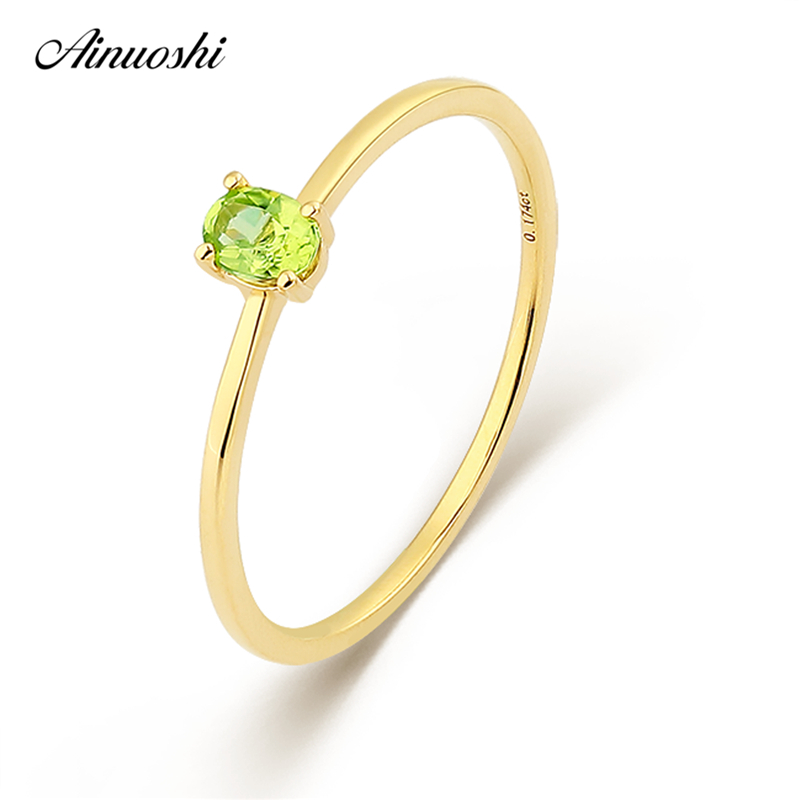 AINUOSHI Genuine Natural Peridot Garnet Ring 18K Gold AU750 Rose Gold Yellow Gold Wedding Women Party Engagement Band Fine Ring au750 rose gold ring lady d ring size 6