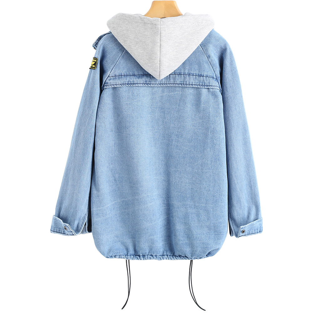 Image 2 - Bella Philosophy 2019 autumn winter Button Up Ladies Denim Women Jacket with Hooded 2 Piece 3XL Female Jean Plus Size Women Coat-in Jackets from Women's Clothing