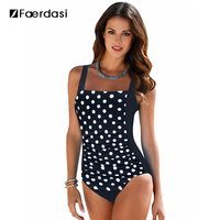Faerdasi 2017 New One Piece Swimsuit Women Plus Size Swimwear Large Size Vintage Retro Padded Beach