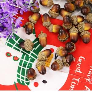 Image 2 - 20pcs 3.3x2.3cm simulazione artificiale piccola ghianda pianta decorazione di cerimonia nuziale frutta finta natale decorazioni per la casa puntelli fotografici