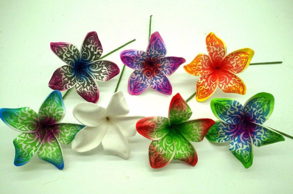 Free Shipping F1143 216pcs/ Lot 9CM 6 Colors Foam Tiare Hair Pick  Women Wear Hair Accessories Hawaii Tropical Flower