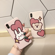 VZD Cute Bear Rabbit Case for iPhone  Xr X Xs Max 7plus 8plus Red Love Heart Scrub Silicone Soft Cover For Iphone 6s 6 8 7 Plus