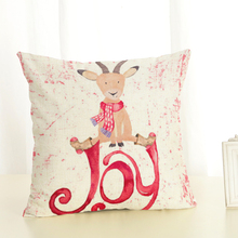 RECOLOUR  DEER Printed Christmas throw pillow cover Cotton linen Home Decorative Cushion Cover cojines decorativos para sofa