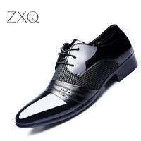 2016 New Brand Summer Style Men Shoes Leather Flat Oxford Business Pointed Toe Men Dress Shoes
