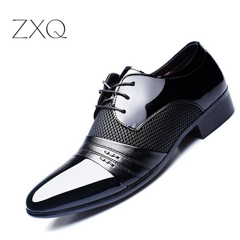 Luxury Brand Men Shoes Men's Flats Shoes Men Patent Leather Shoes Classic Oxford Shoes For <fon
