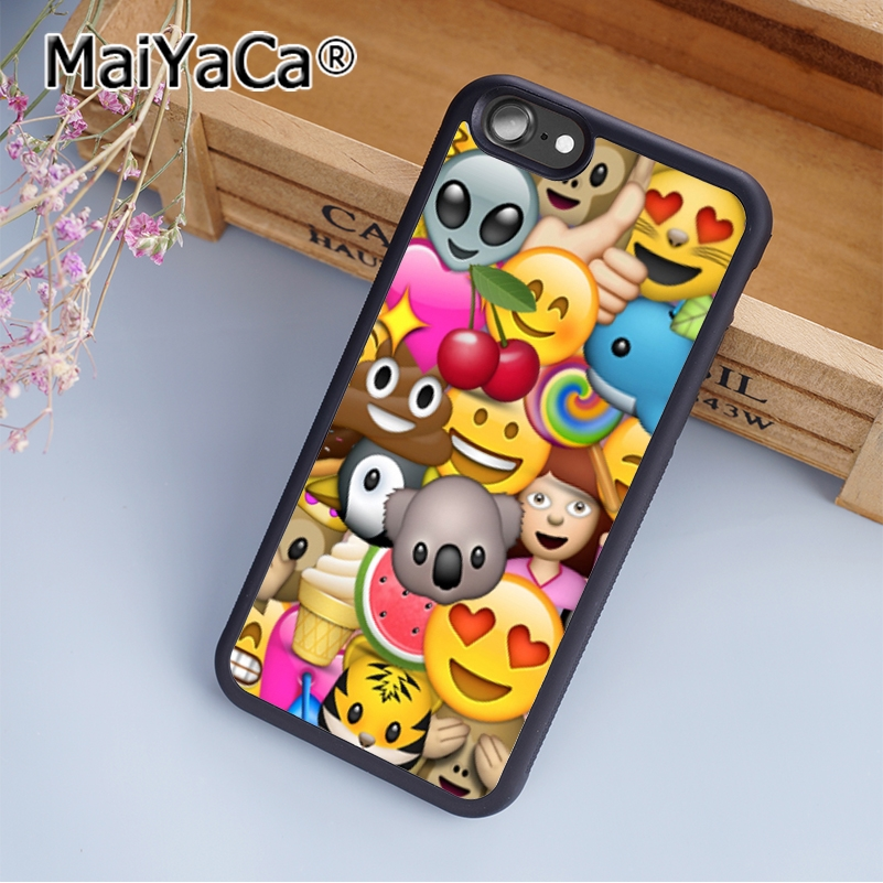 MaiYaCa Colourful Emoji Emojicon Print Soft TPU Mobile Phone Case Funda For iPhone 5 5S SE Back Cover Skin Shell